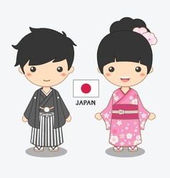 Boy and girl in japanese costume vector