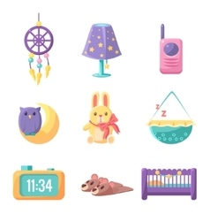Baby bedroom elements set vector