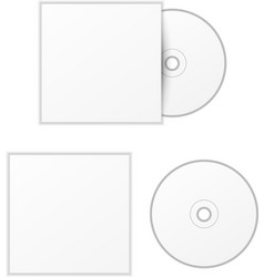 Blank white compact disk with cover mock up vector image
