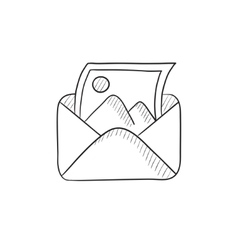 Envelope mail with photo sketch icon vector