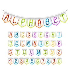 Bunting alphabet and numbers set vector