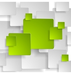 Abstract green grey squares tech background vector