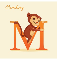 Animal alphabet with monkey vector image