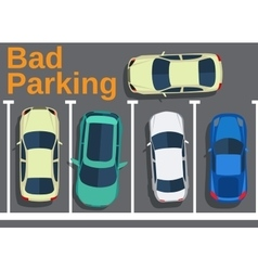 Bad parking blocking cars vector