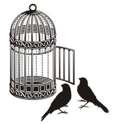 bird cage vector image vector image