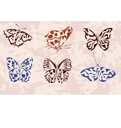 Butterfly icons tattoo vector image vector image