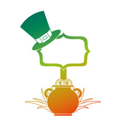 Cauldron coins green hat and sing board vector