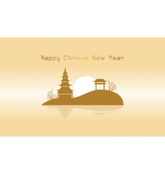 Chinese landscape with pavilion silhouettes vector
