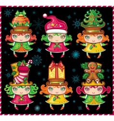 christmas helpers vector image vector image