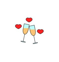 clinking champagne glasses with hearts solid icon vector image
