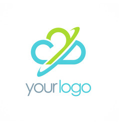cloud circle logo vector image vector image
