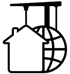 Construction icon with crane with planet and house vector