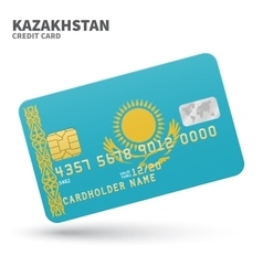 Credit card with Kazakhstan flag background for vector image vector image