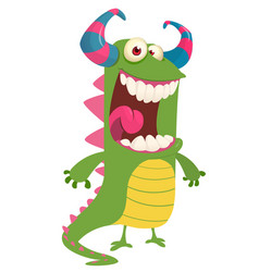 cute cartoon green monster vector image vector image