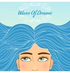 Cute girl with big eyes and blue long wavy hair vector image