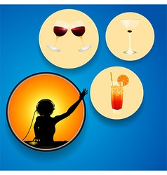 DJ and drinks on circles over blue background vector image vector image