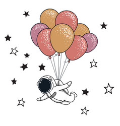 Funny spaceman fly with many balloons vector