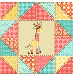Giraffe quilt pattern vector
