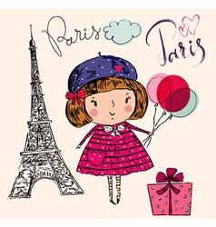 Girl in paris color vector