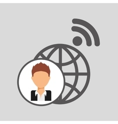 Guy cartoon wifi globe vector