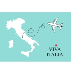 Italy and sicily map postcard design map vector