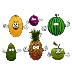 Juicy ripe cartoon fruit characters vector
