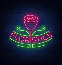 Logo flower shop florist neon emblem sign vector