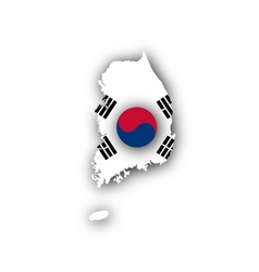 Map and flag of south korea vector