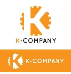 minimalistic orange K letter logotype vector image