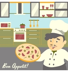Pizza chief cook with kitchen vector