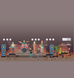 Rock band concert in flat vector