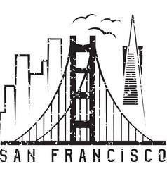 San francisco skyline grunge design template vector