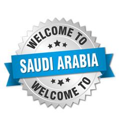 Saudi arabia 3d silver badge with blue ribbon vector