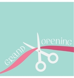 Scissors cut the ribbon grand opening celebration vector