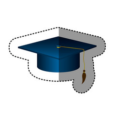 Sticker silhouette dark blue graduation hat vector