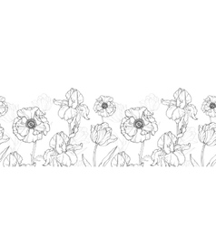 Vintage Black White Flowers Drawing vector image