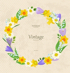 vintage invitation card with wreath of fine spring vector image