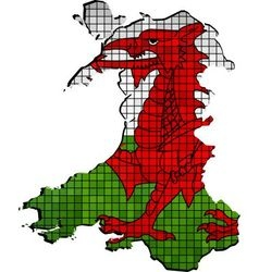 Wales map with flag inside vector