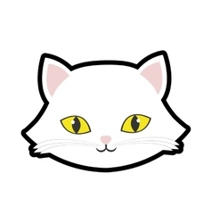 White cat kitty yellow eyes animal cute vector