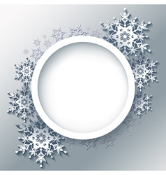 Winter grey background frame with 3d snowflakes vector image