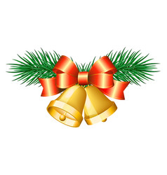 Christmas golden bells with red bows vector image