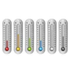 Different colors thermometers vector