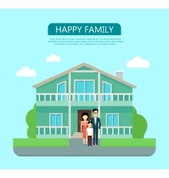 Happy family in the yard of their house vector