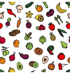 Vegetables and fruit seamless pattern vector