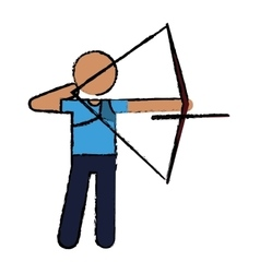 Drawing archery player aiming bow game vector