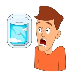 Fear of flying icon cartoon style vector