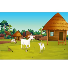 A farm with nipa huts vector