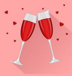 Two glasses of red champagne for saint valentines vector