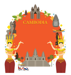 cambodia landmarks traditional dance frame vector image