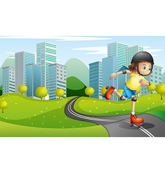 A girl rollerskating at the road with a safety vector
